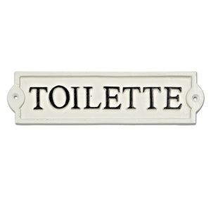 toilette cast iron sign