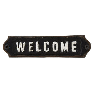 Black Welcome Cast Iron Sign