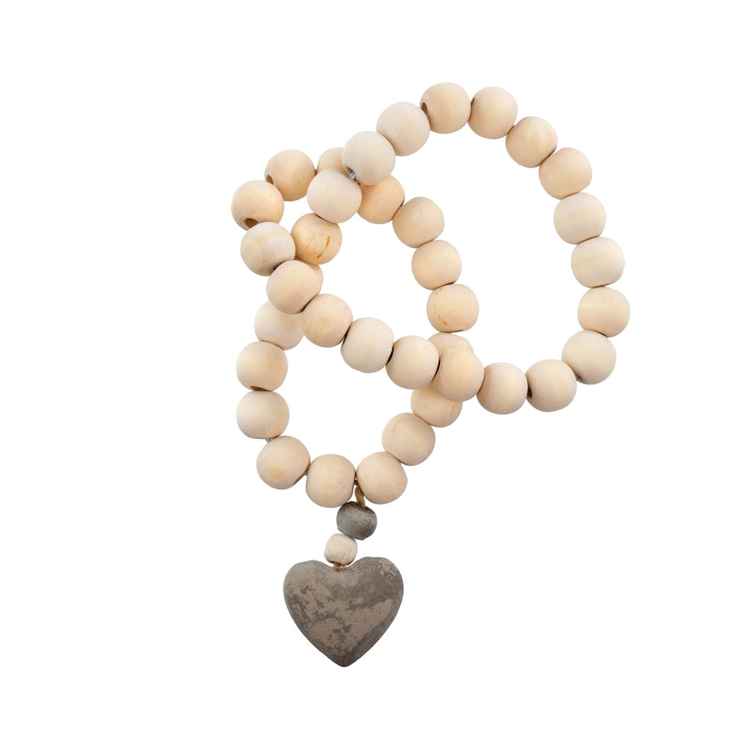 natural wooden prayer beads with heart pendant