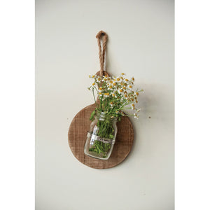 Wood Wall Hanging bread board with glass jar