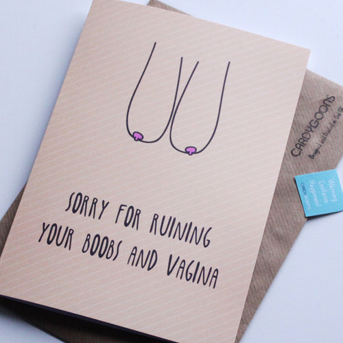 Sorry for ruining your boobs... | Greetings Card | CardyGoons