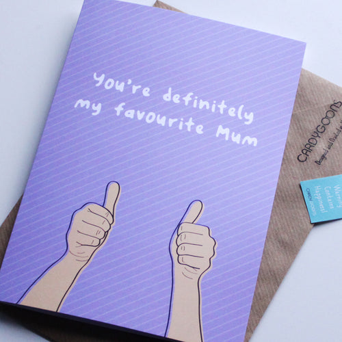 You're definitely my favourite mum | Greetings Card | CardyGoons