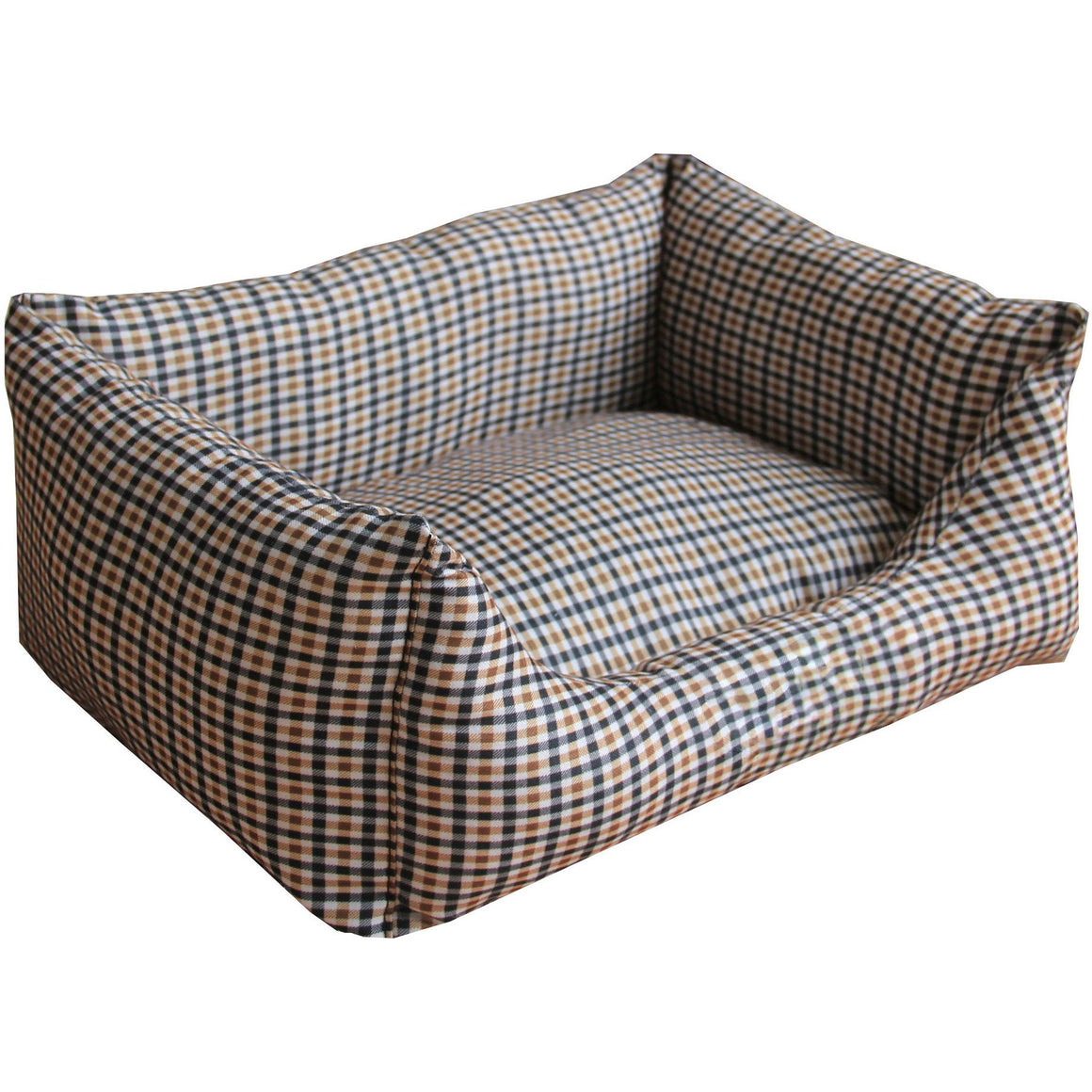 Anti-Bacterial/Water Resistant Rectangular Dog Bed - X-Small - Brown/Blue Plaid