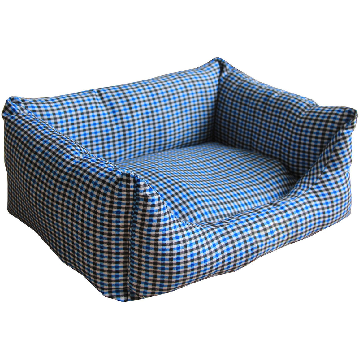 Anti-Bacterial/Water Resistant Rectangular Dog Bed - X-Small - Blue Plaid