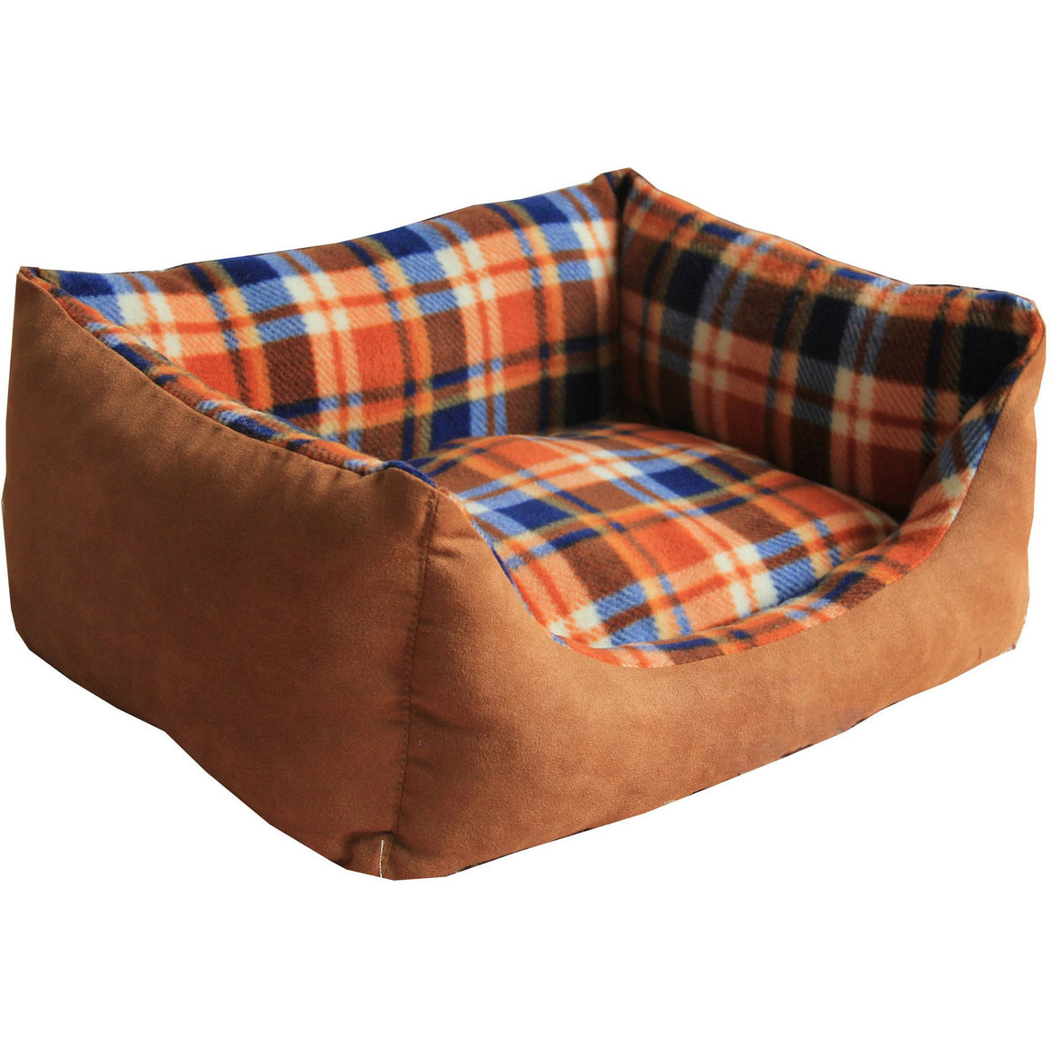 Anti-Bacterial/Water Resistant Rectangular Dog Bed - X-Small - Burnt Brown Plaid