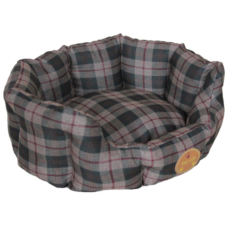 Anti-Bacterial/Water Resistant Round Dog Bed - X-Small - Olive Green Plaid