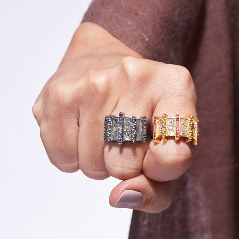 silver and gold diamond rings