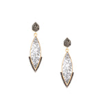 black diamond gold drop earrings