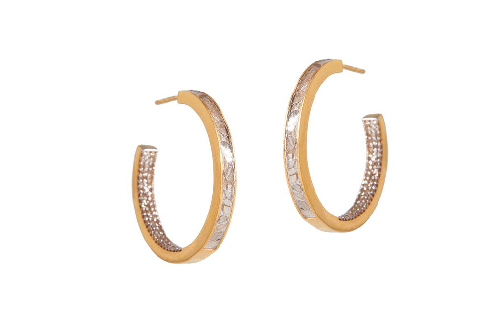 gold double sided diamond hoops