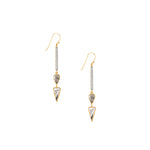 black diamond 18k gold dangle earrings