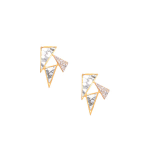 triangle diamond 18k gold studs
