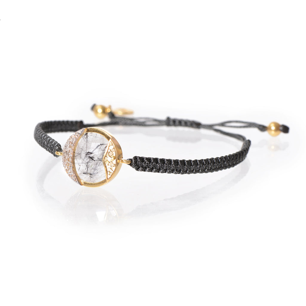 diamond gold detail rope bracelet