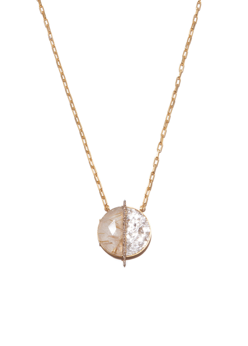 gold quartz and diamond pendant necklace