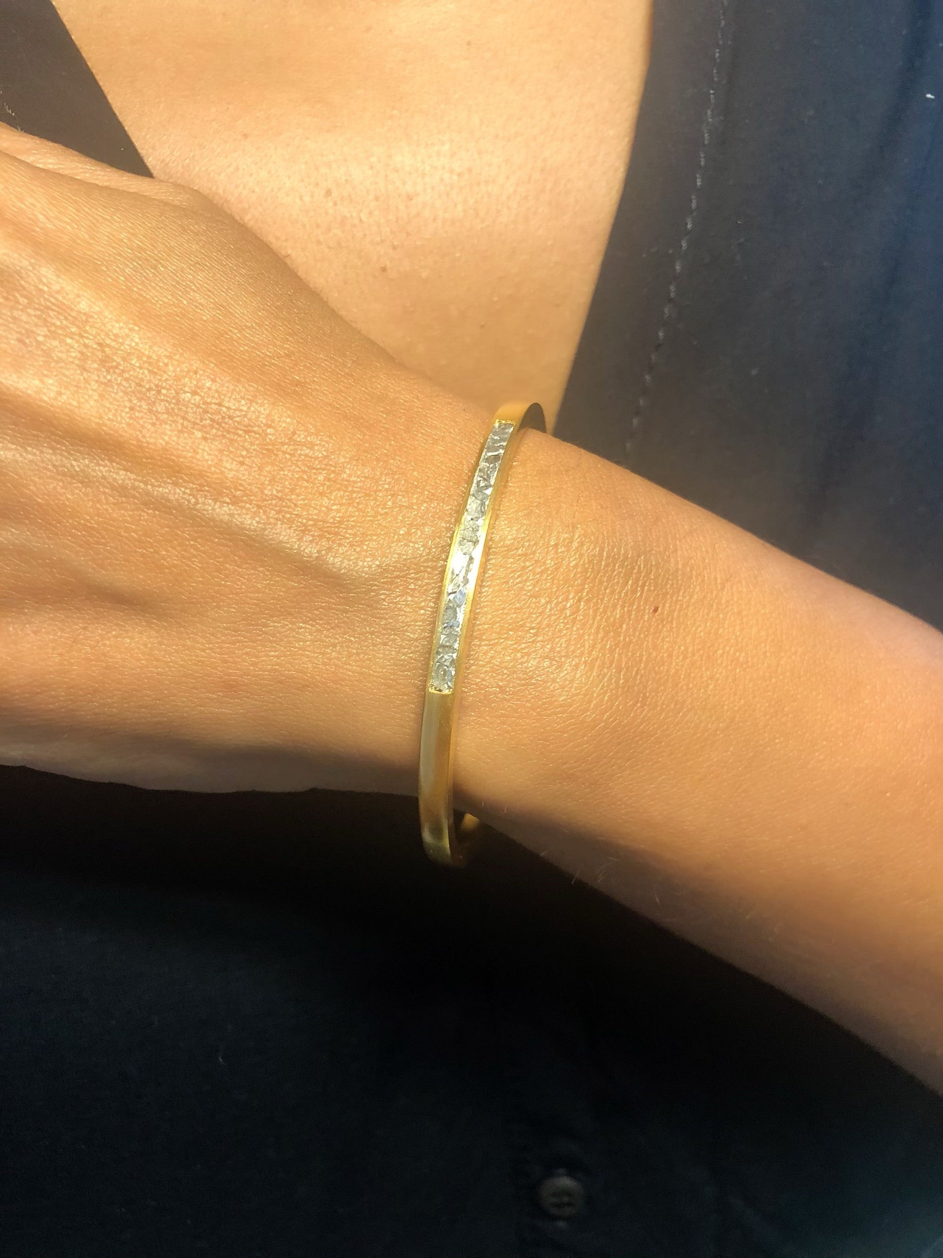 raw diamond 18k gold bangle