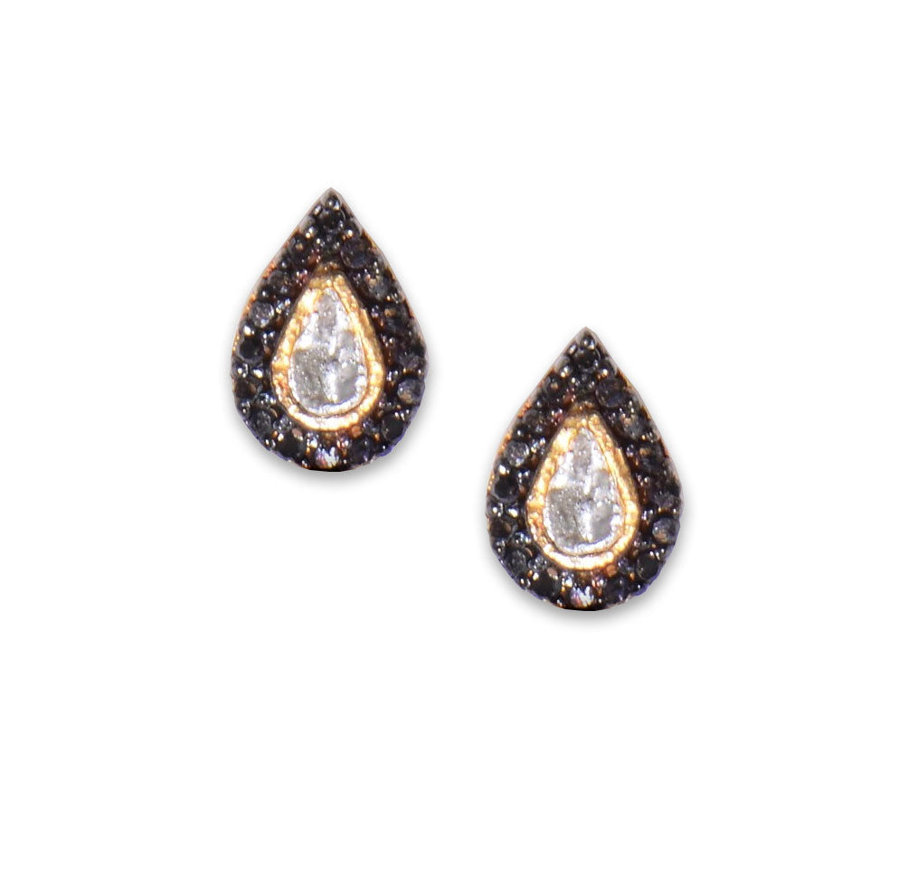 gold teardrop black diamond studs