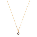 opal and black diamond pendant on gold chain necklace