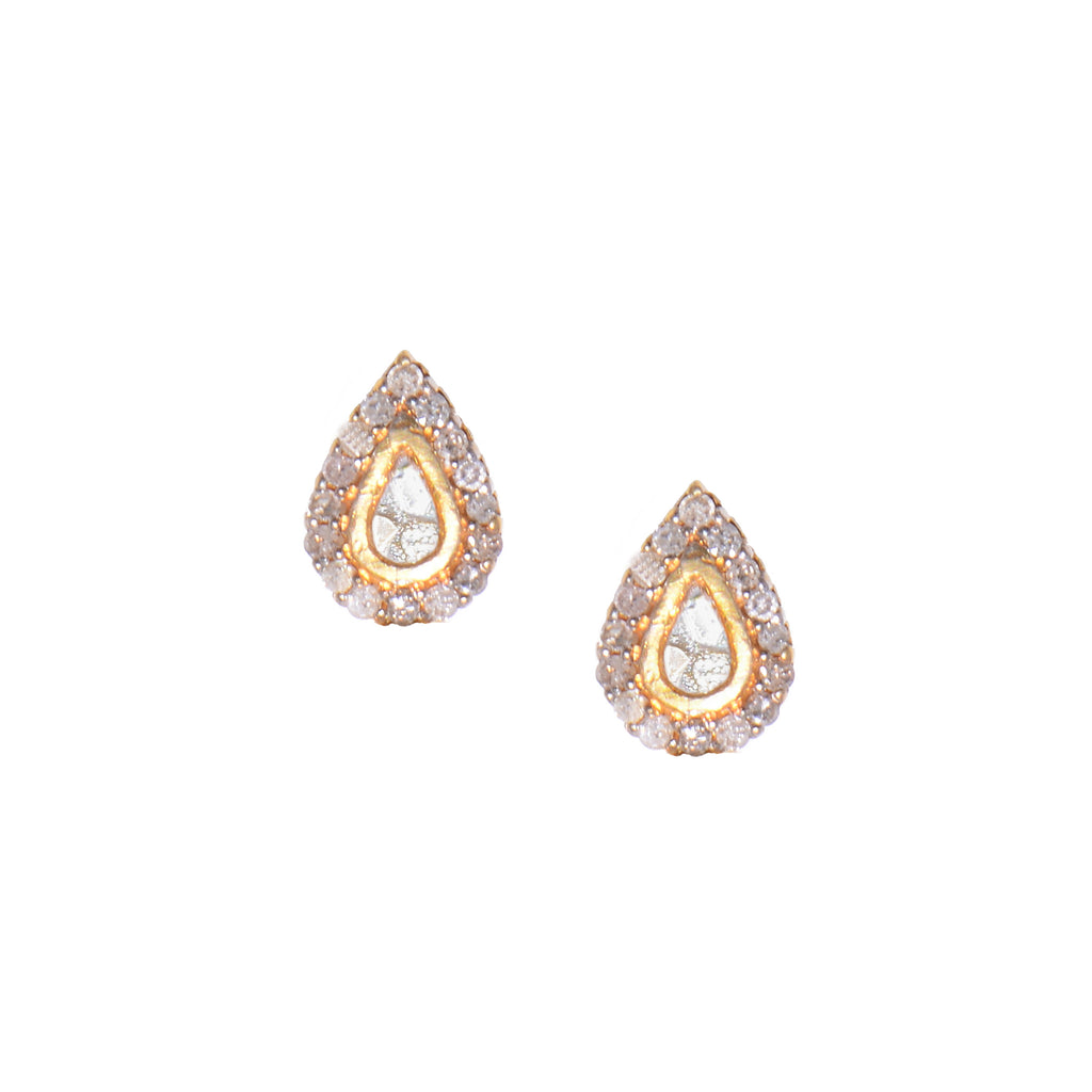 diamond and gold teardrop stud earrings