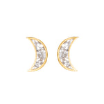 Crescent moon shaped diamond studs