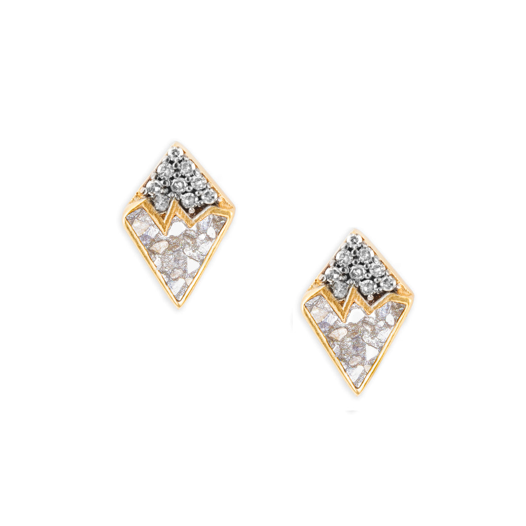 pave champagne diamond gold studs