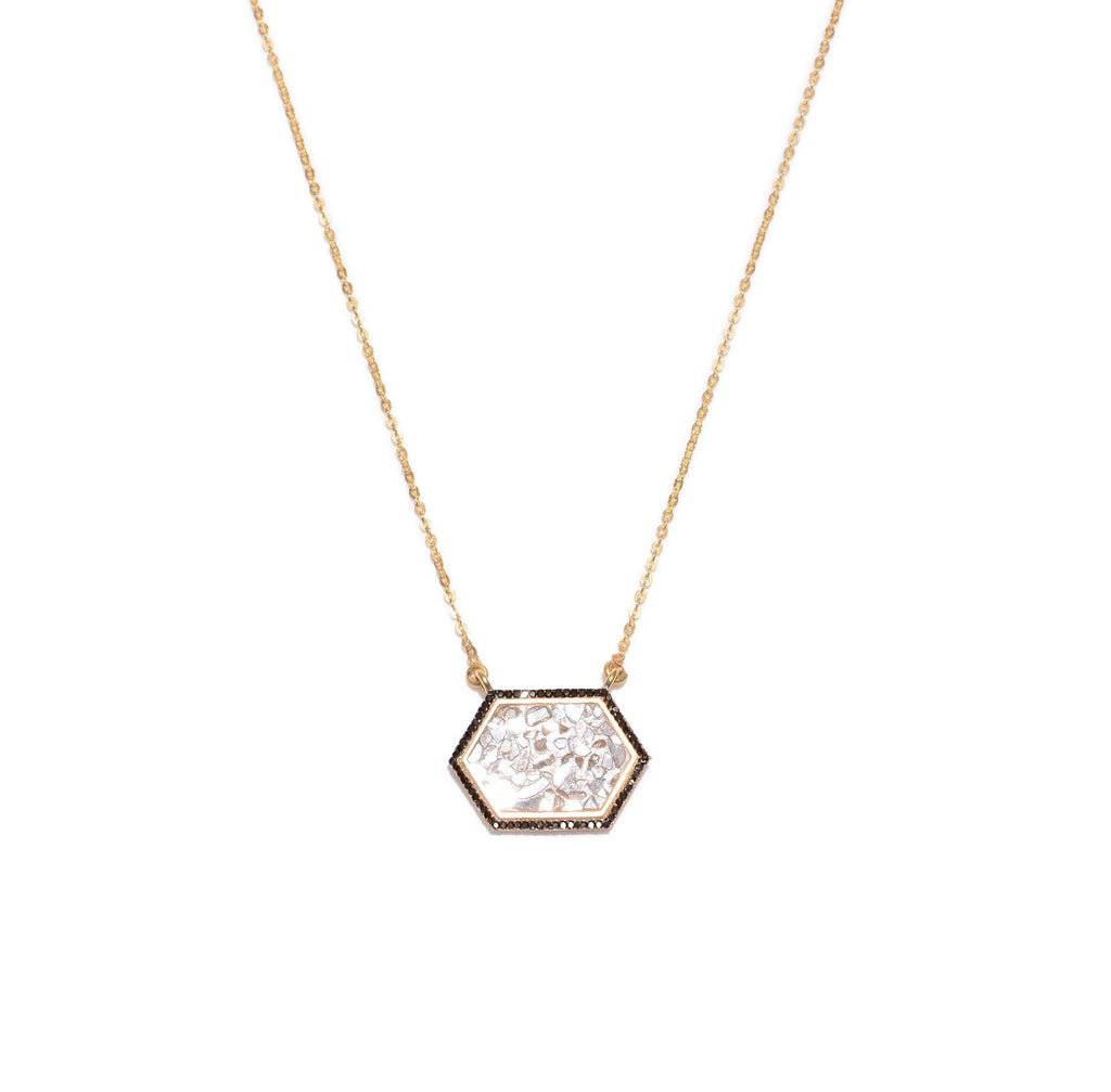 hexagon shaped diamond pendant on gold chain