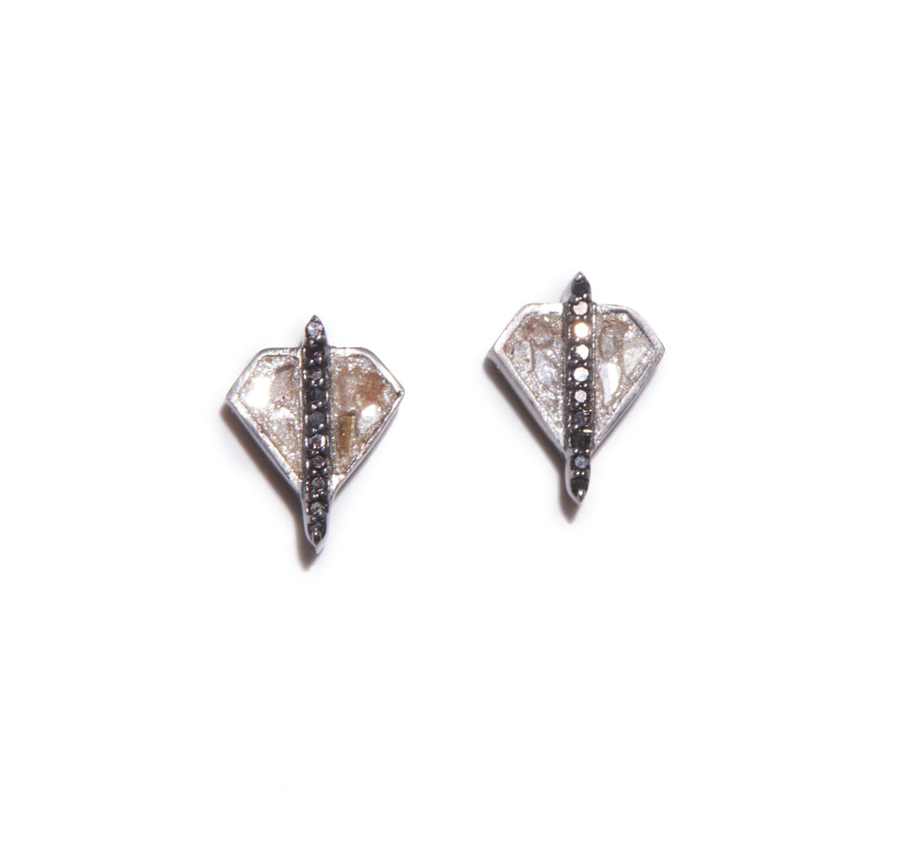 raw uncut black diamond studs