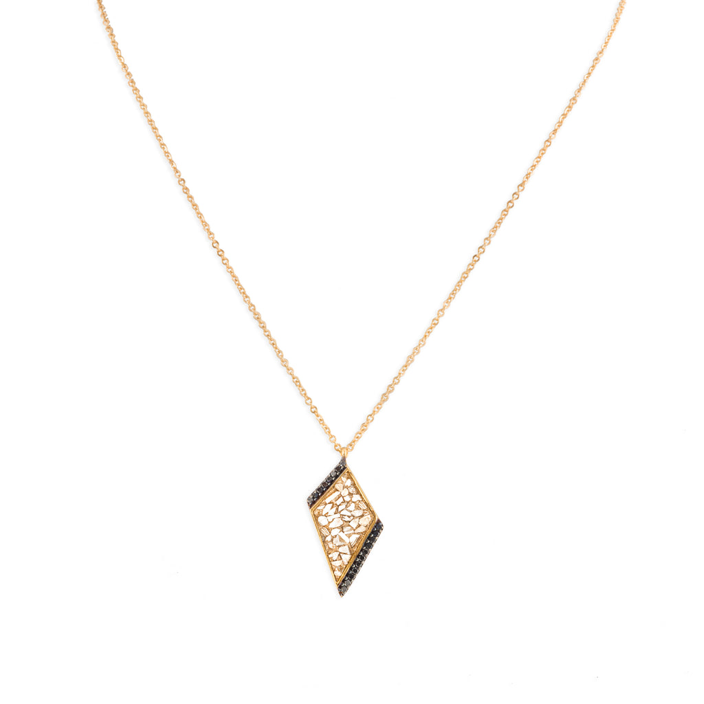 gold triangle  diamond pendant on gold chain