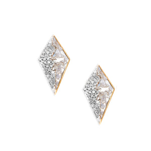 raw diamond gold stud earrings