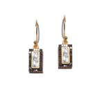 Pave black diamond dangle gold earrings