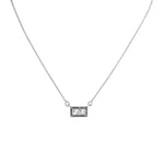 Pave black diamond pendant sterling silver necklace