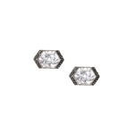 pave black diamond sterling silver studs