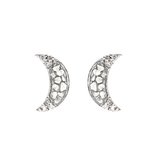 crescent moon shaped sterling silver stud earrings