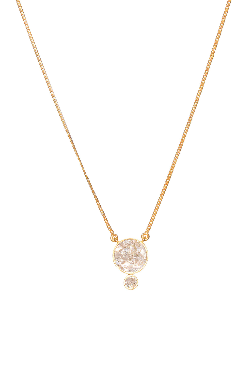 round diamond pendant on gold chain necklace