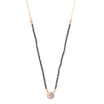 diamond pendant on gold chain necklace with black spinnel beads