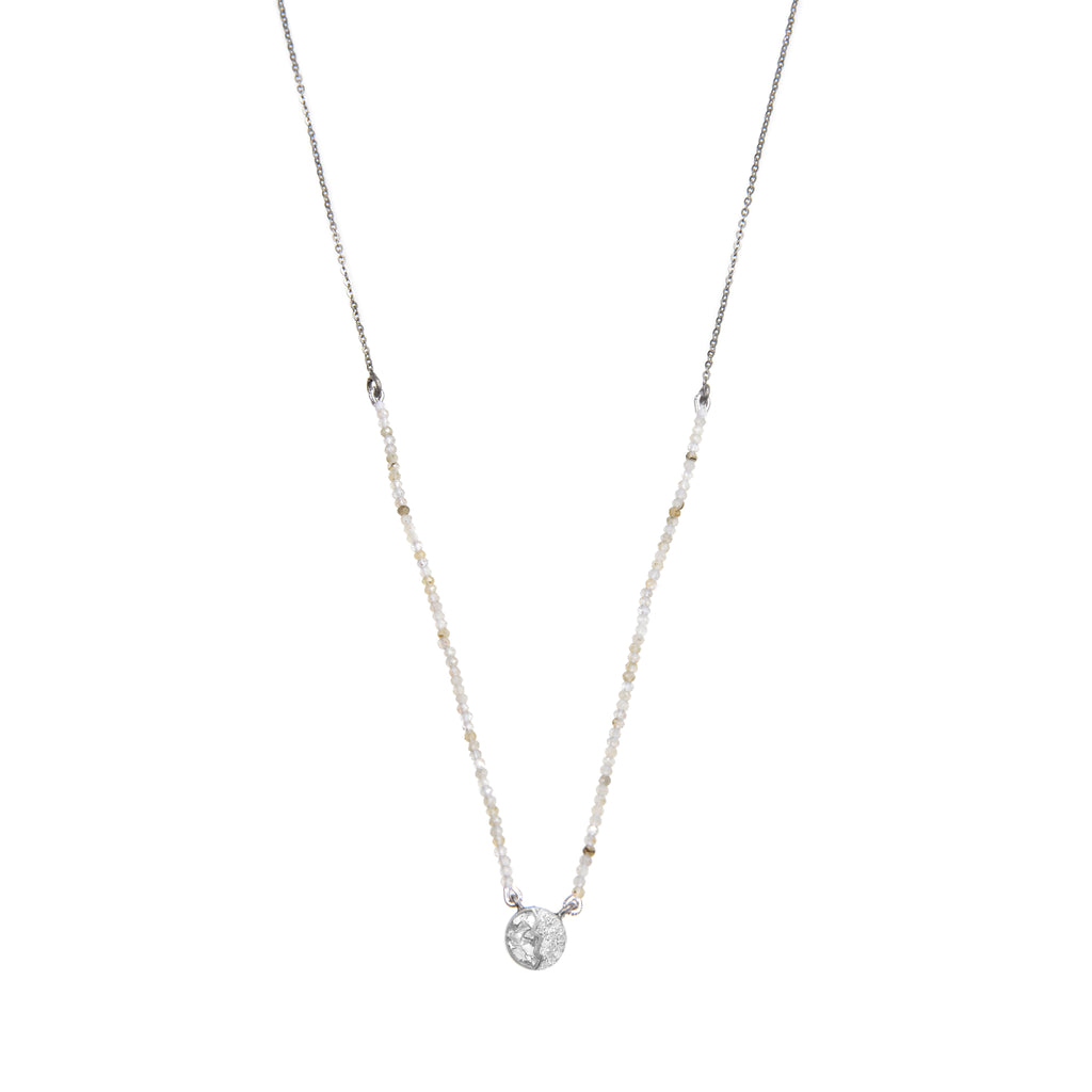 white labradorite diamond pendent beaded sterling silver necklace