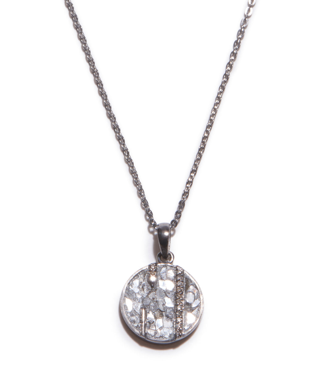 sterling silver round diamond pendant necklace