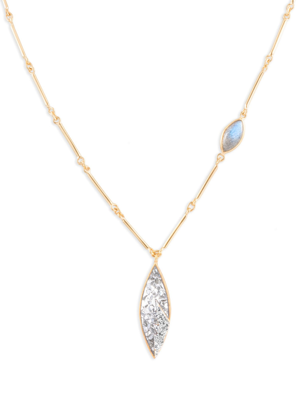 diamond and labradorite 18k gold necklace