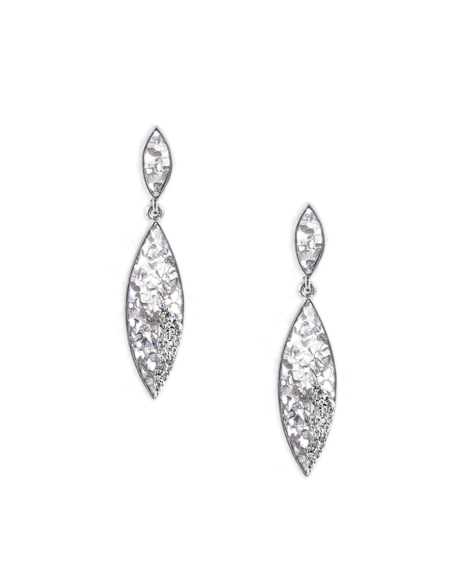 diamond teardrop sterling silver earrings