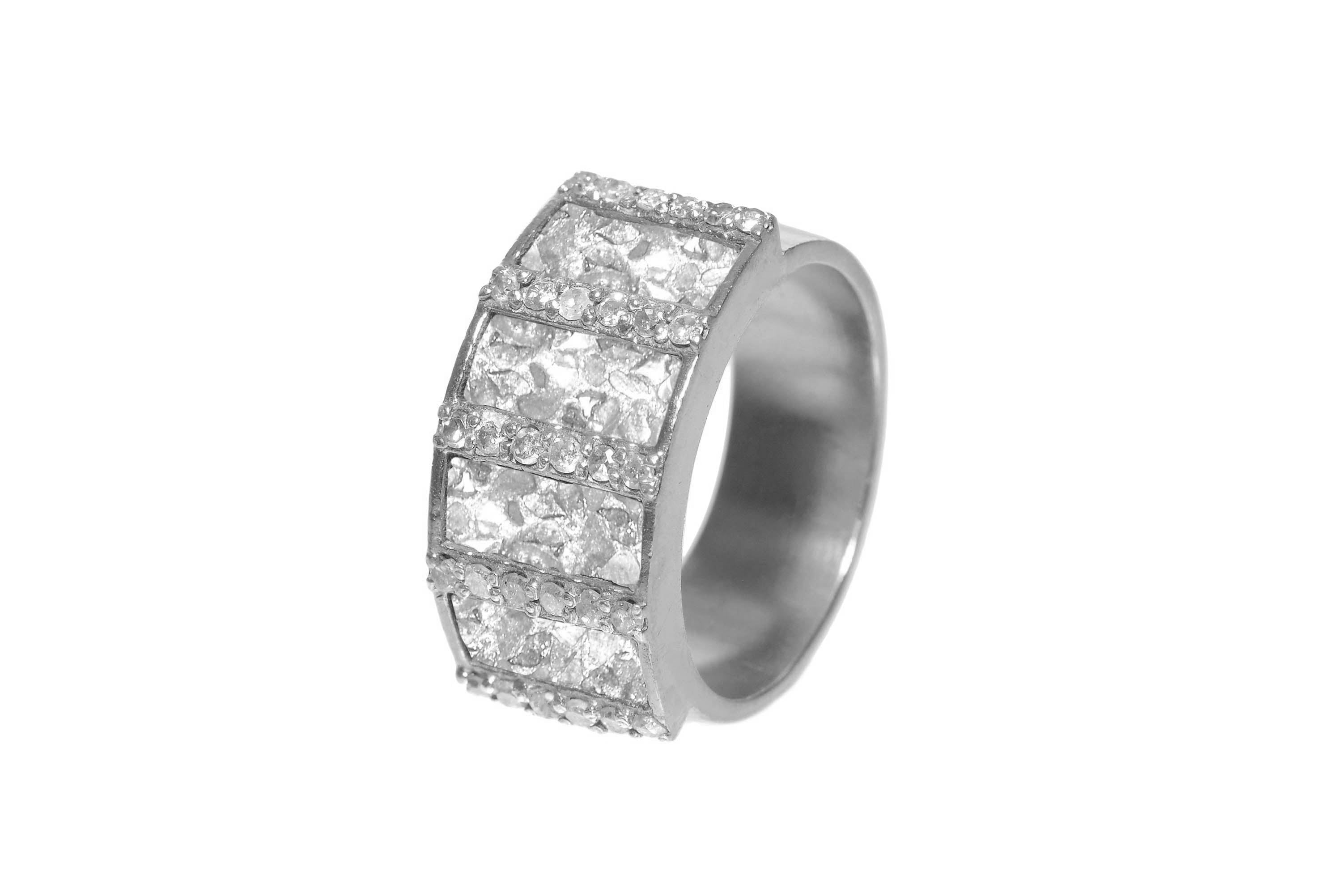 silver pave diamond ring