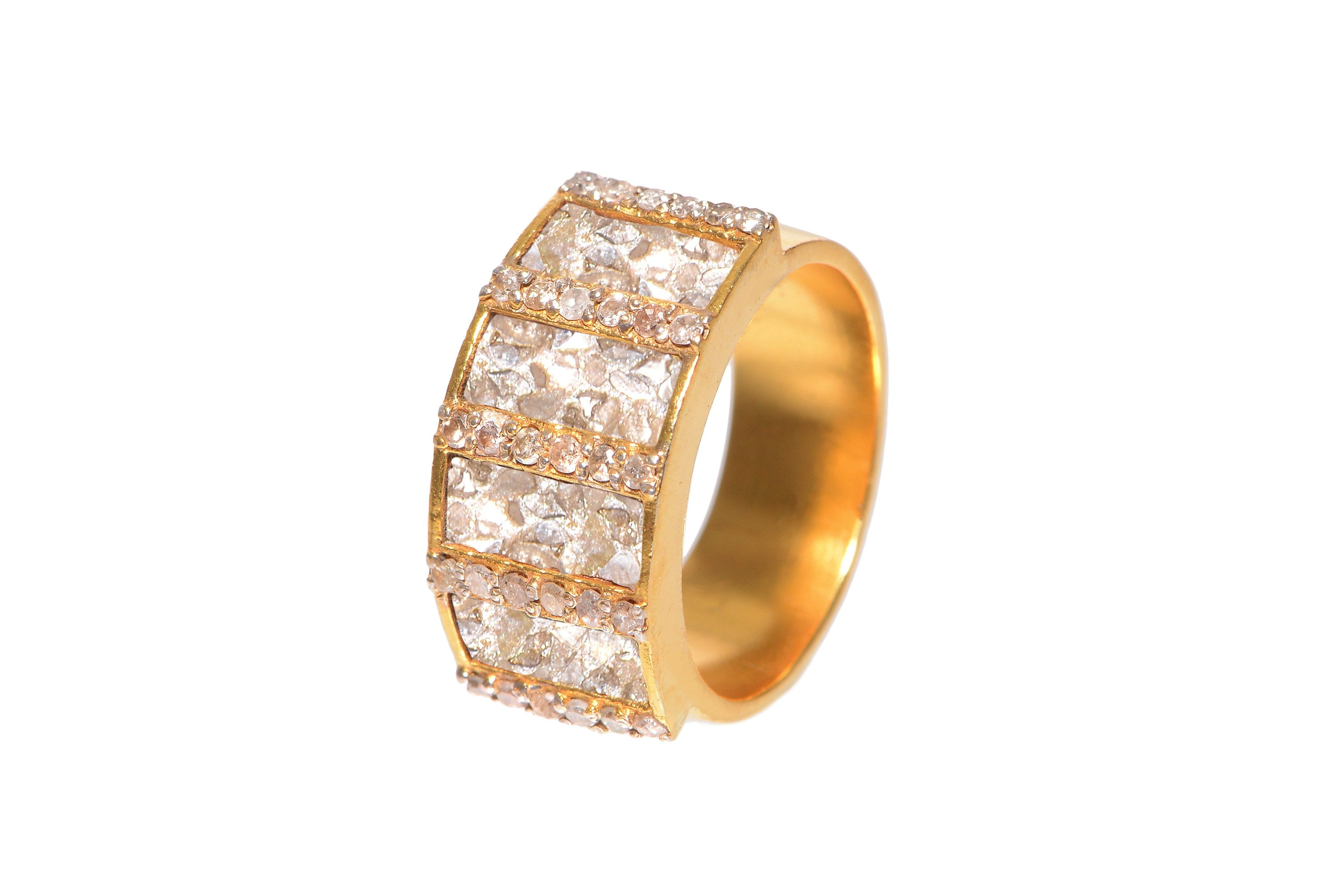 gold pave diamond ring