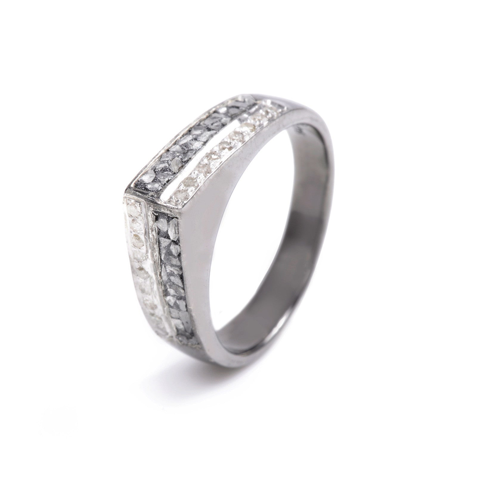 black resin two row of diamond silver ring