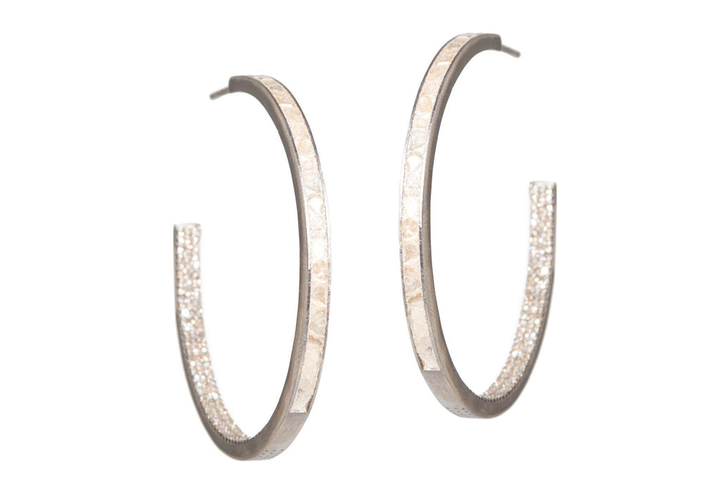 silver pave diamond hoops