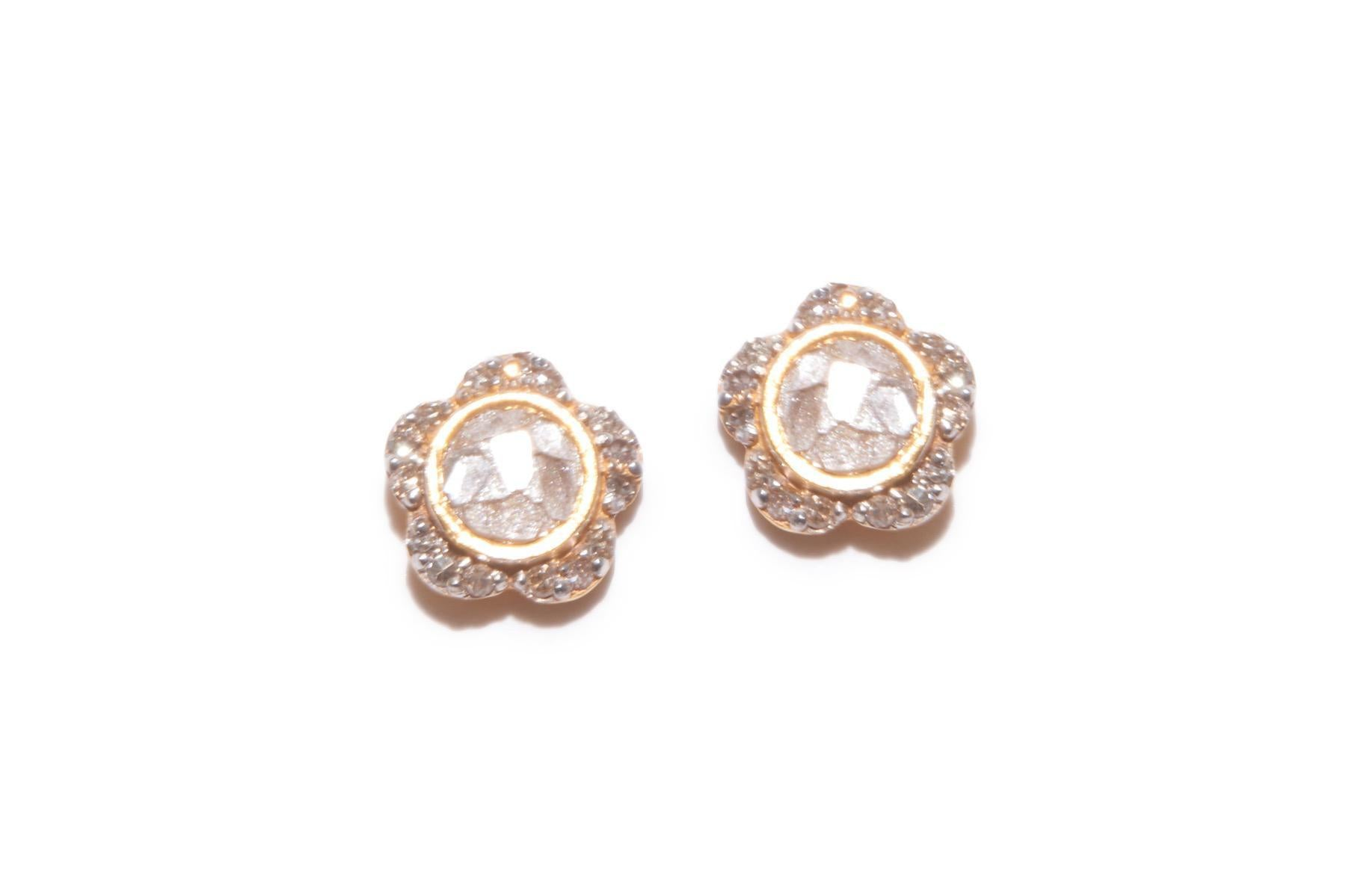 flower shaped diamond gold studs