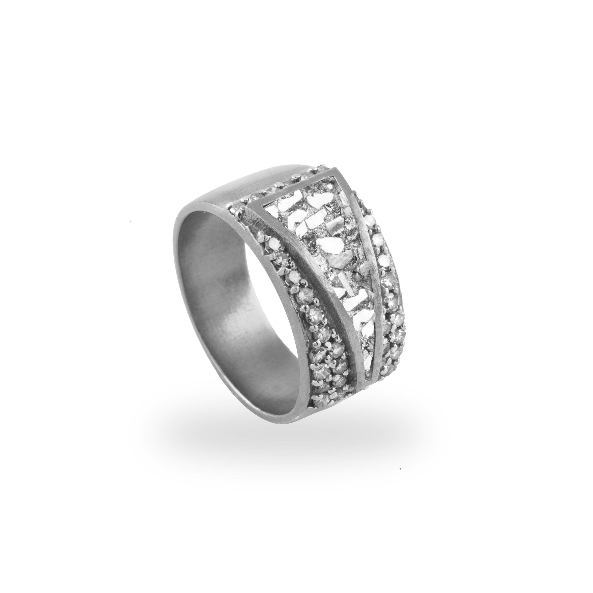 thick band pave diamond silver ring