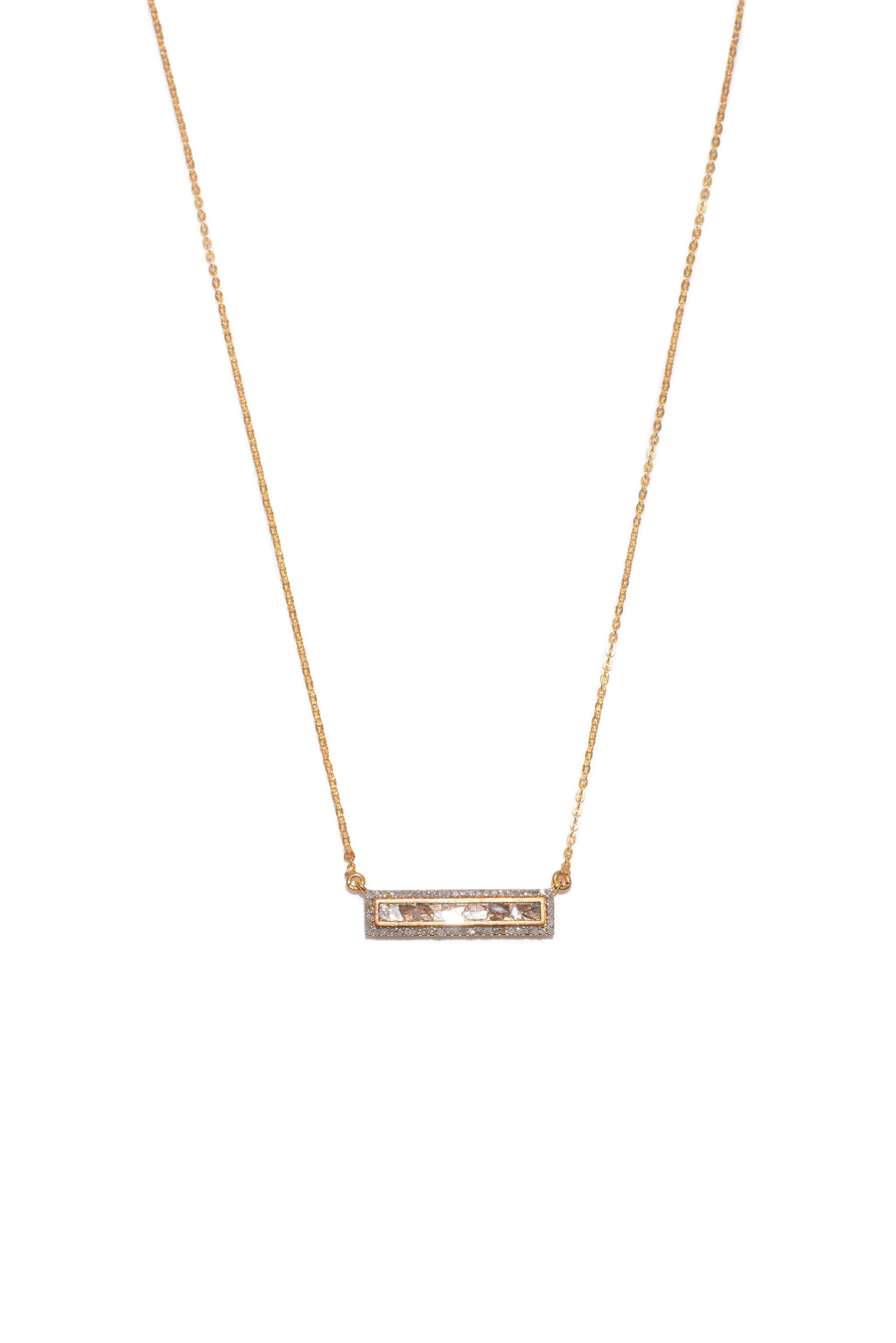 gold diamond rectangle pendant necklace
