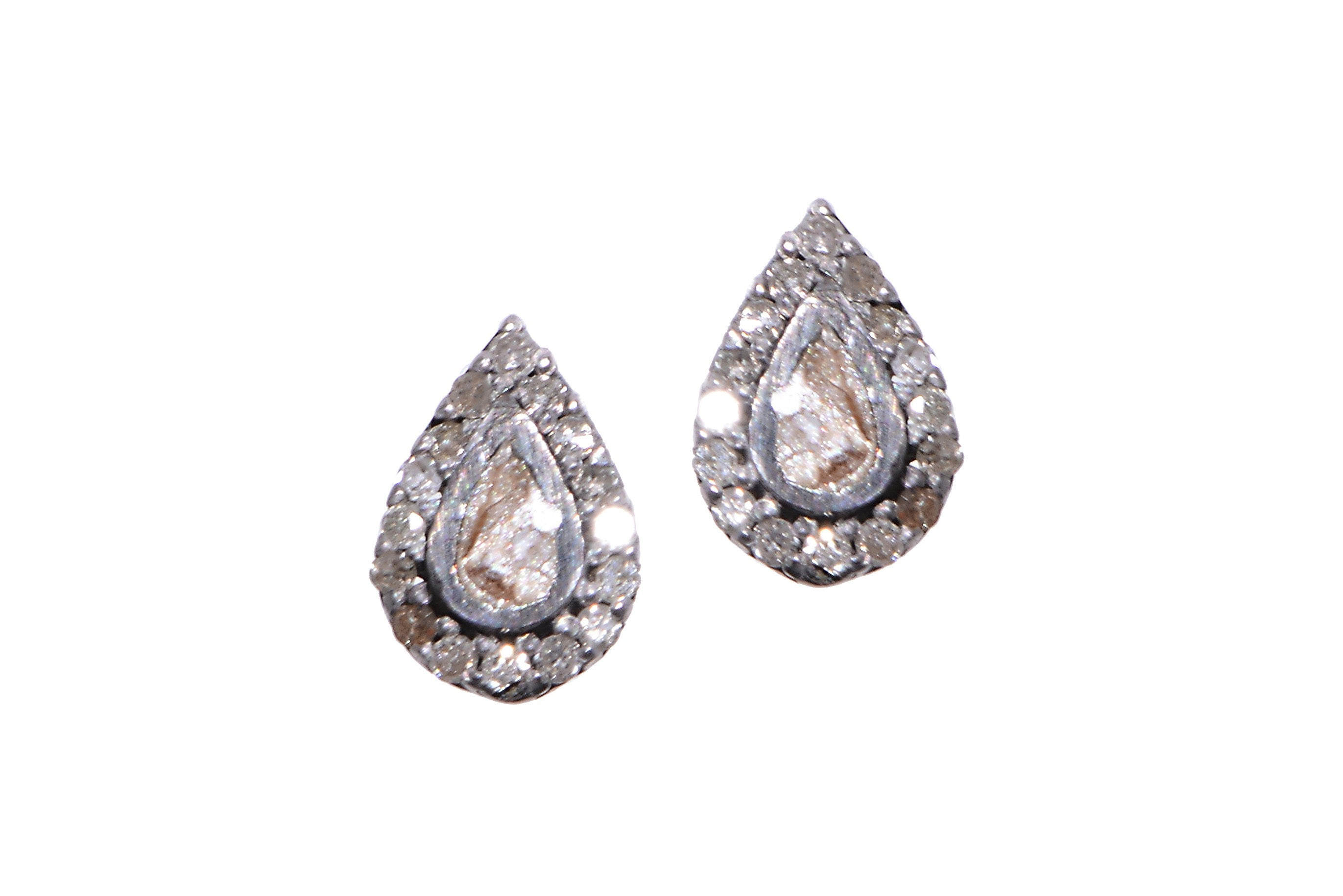 silver teardrop diamond studs