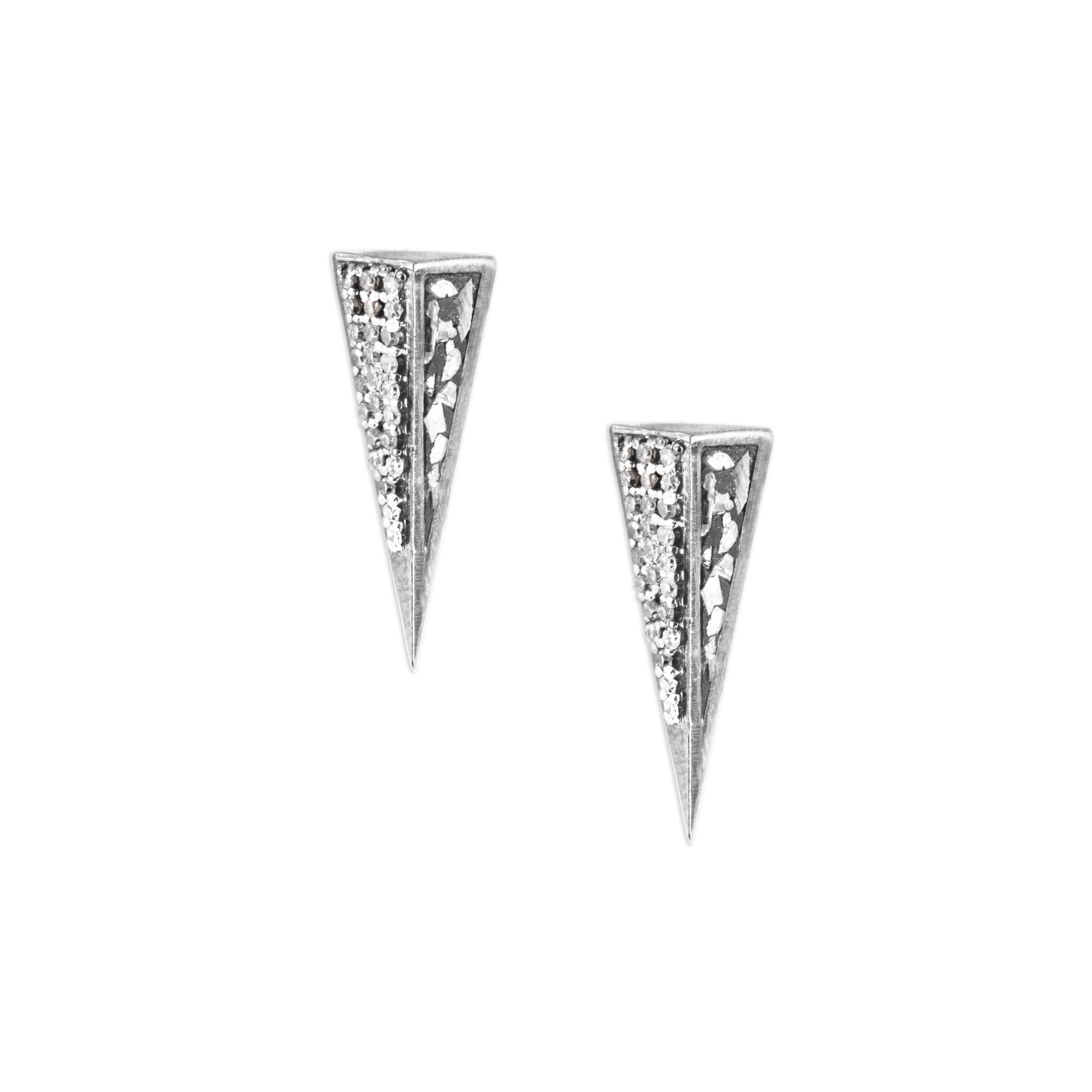 triangle sterling silver diamond studs