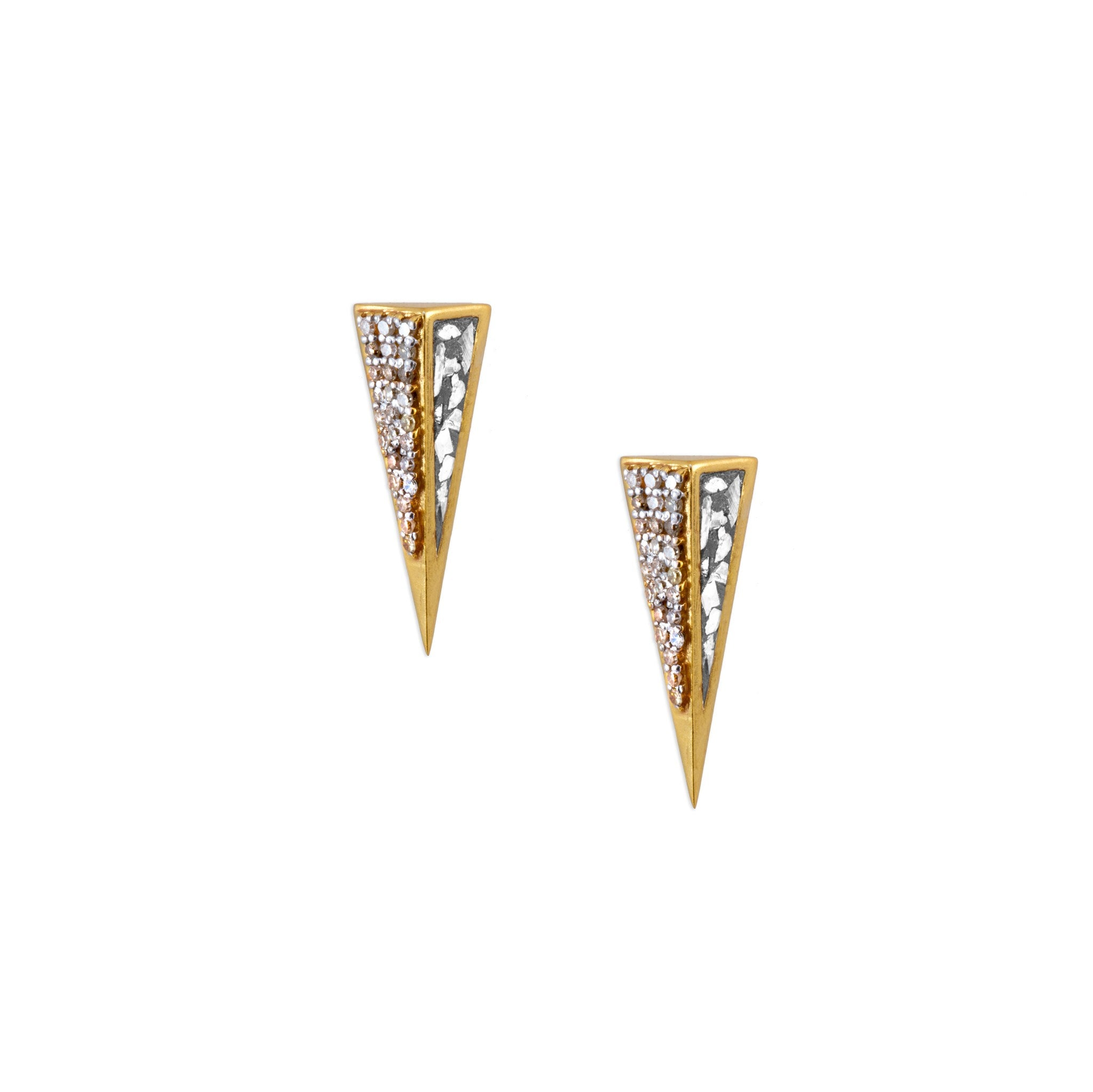 triangle gold diamond studs