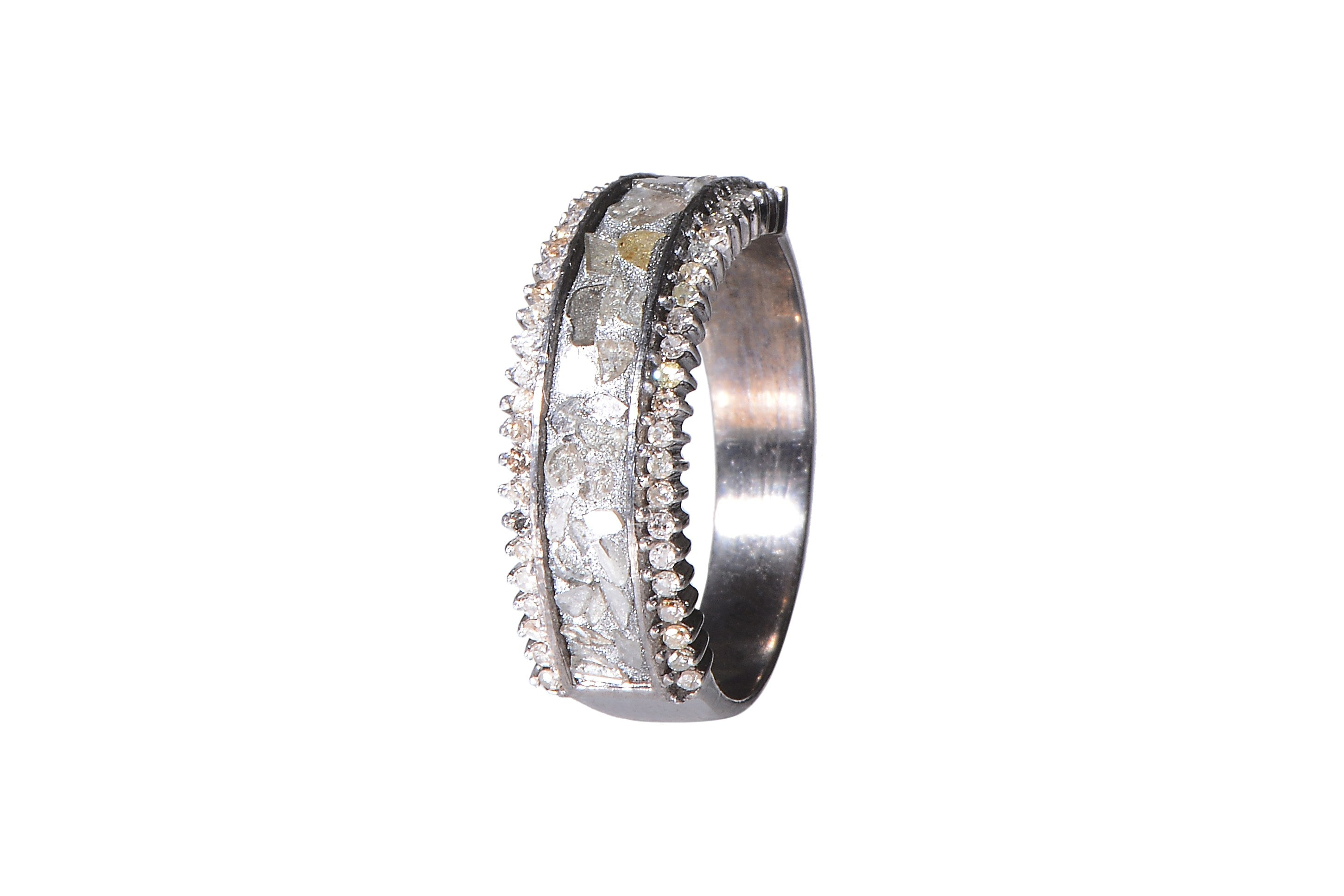 sterling silver diamond layered ring