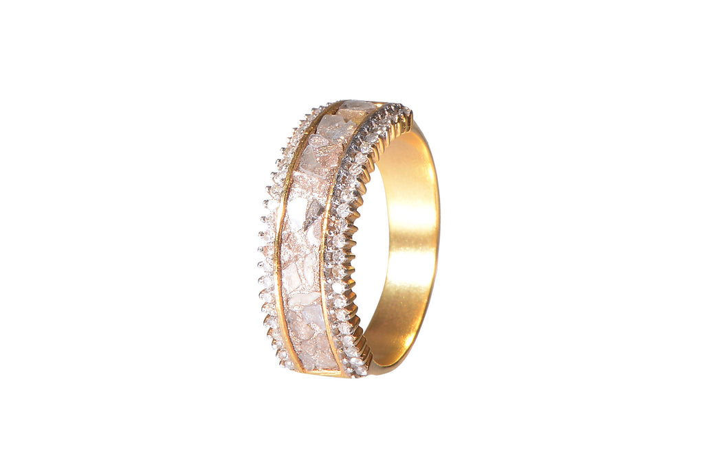 gold diamond layered ring