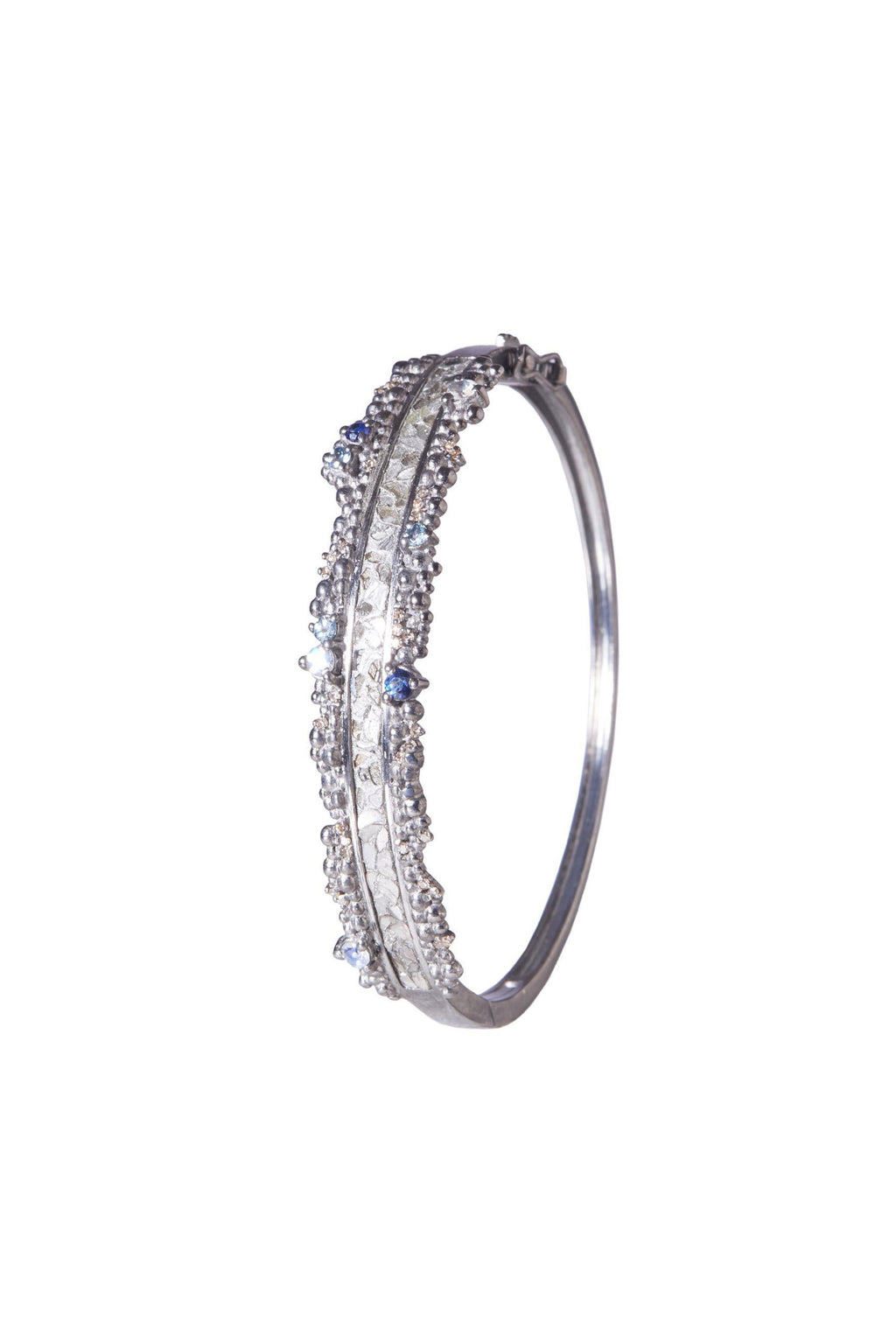 raw uncut sterling silver diamond bangle